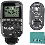 Godox xt32C power-control disparador de flash inalámbrico Transmisor Sistema Inalámbrico de 2,4g x 1/8000s HSS para Canon Cámaras, Godox xtr-162.4G receptor inalámbrico de flash de control remoto x-system, gamuza de Andoer