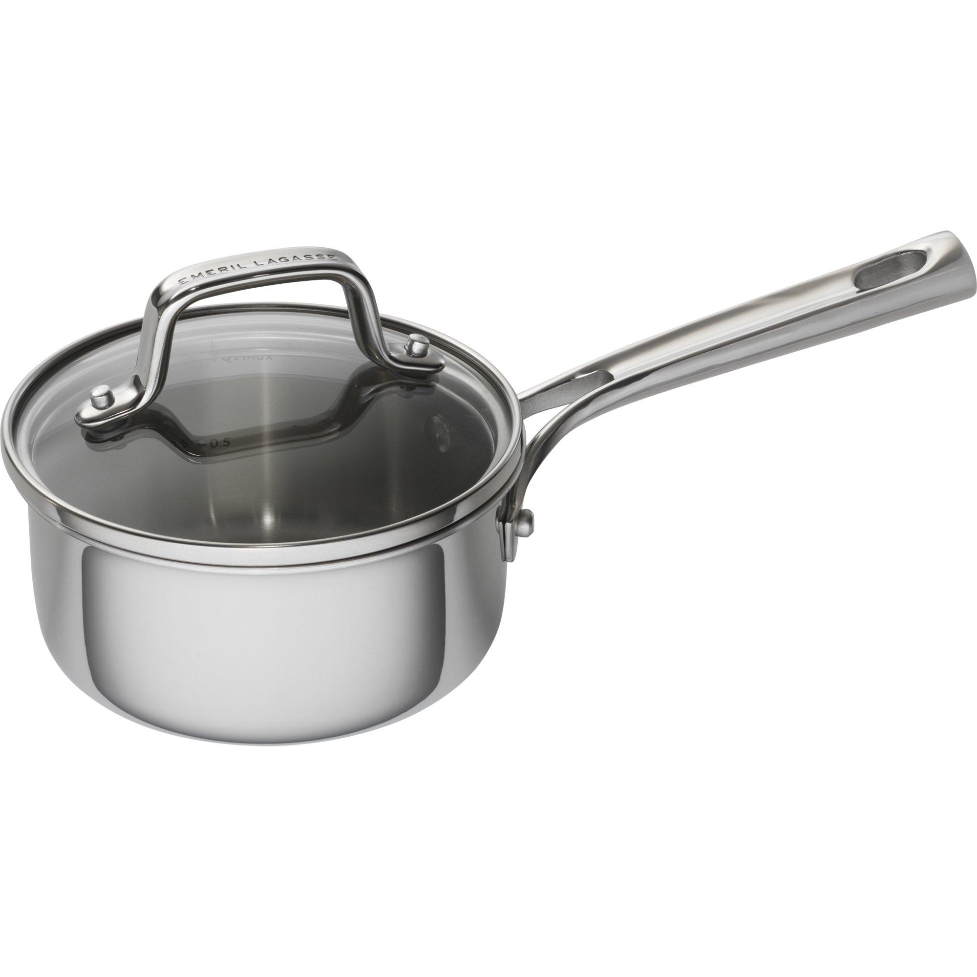 Emeril Lagasse 62854 Tri-Ply Stainless Steel Saucepan, 1 quart, Silver