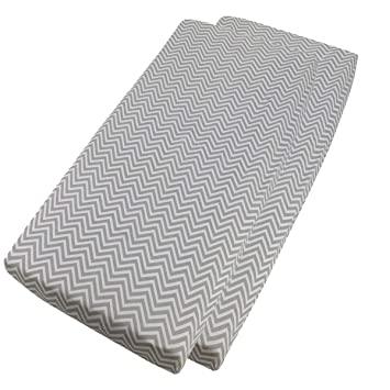 Home & Kitchen 4X FYLO Baby Fitted Sheets Compatible with Chicco Next 2 me Sheets 55x90cm Grey Chevron