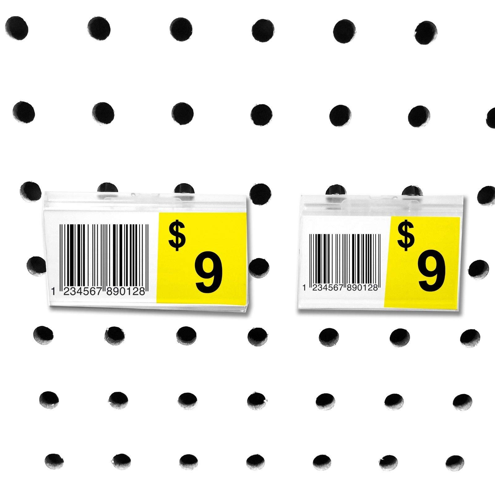 Pegboard Label Holder, Scannable UPC Ticket Display with Slot for Peg Wall, 2'' L x 1.25'', 100 Pack