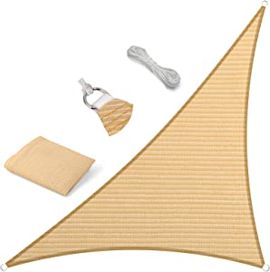 Eden's Decor Sun Shade Sail Right Triangle Outdoor with Durable Thick Air-Permeable UV Block Canopy for Garden, Patio, Swimming Pool, Backyard, Driveway, Fence, Deck (Beige, 15' x 15' x 21')