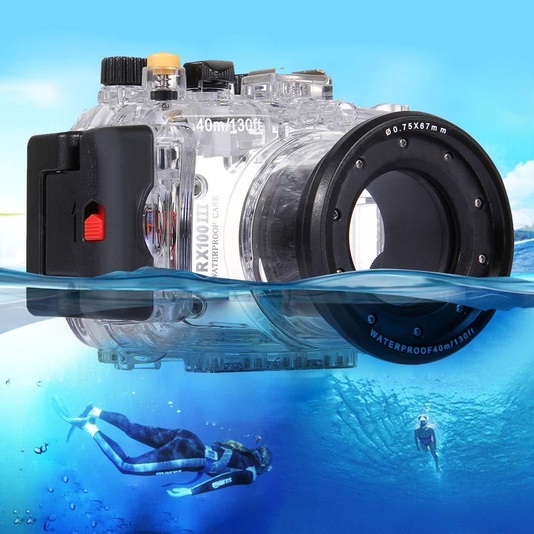 ソニーRX100 IIIのための40メートルの水中深度ダイビングケース防水カメラハウジング   B07PB5R335