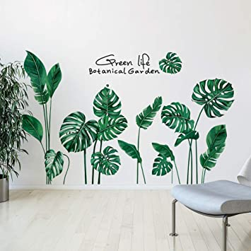 Plant Mural Wall Sticker Decal Decoration Living Room Leaf Green  DIY Home Decor