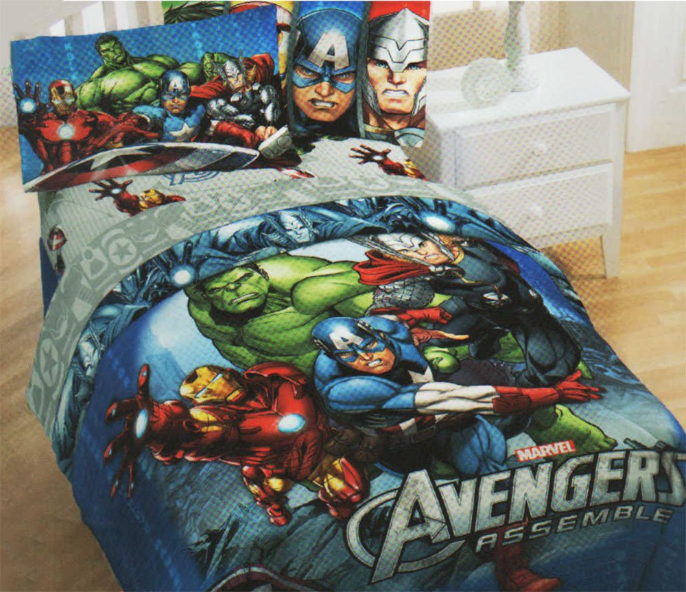 Avengers bedding set twin - Amazon Com Marvel Avengers Assemble Twin Sheet Set Bedding Home Kitchen