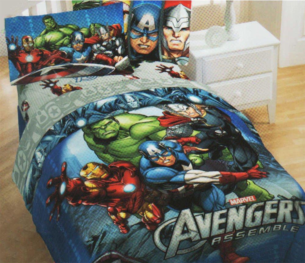 3pc Marvel Comics Avengers Twin Bedding Set Superhero Halo Comforter and Sheet Set by Marvel