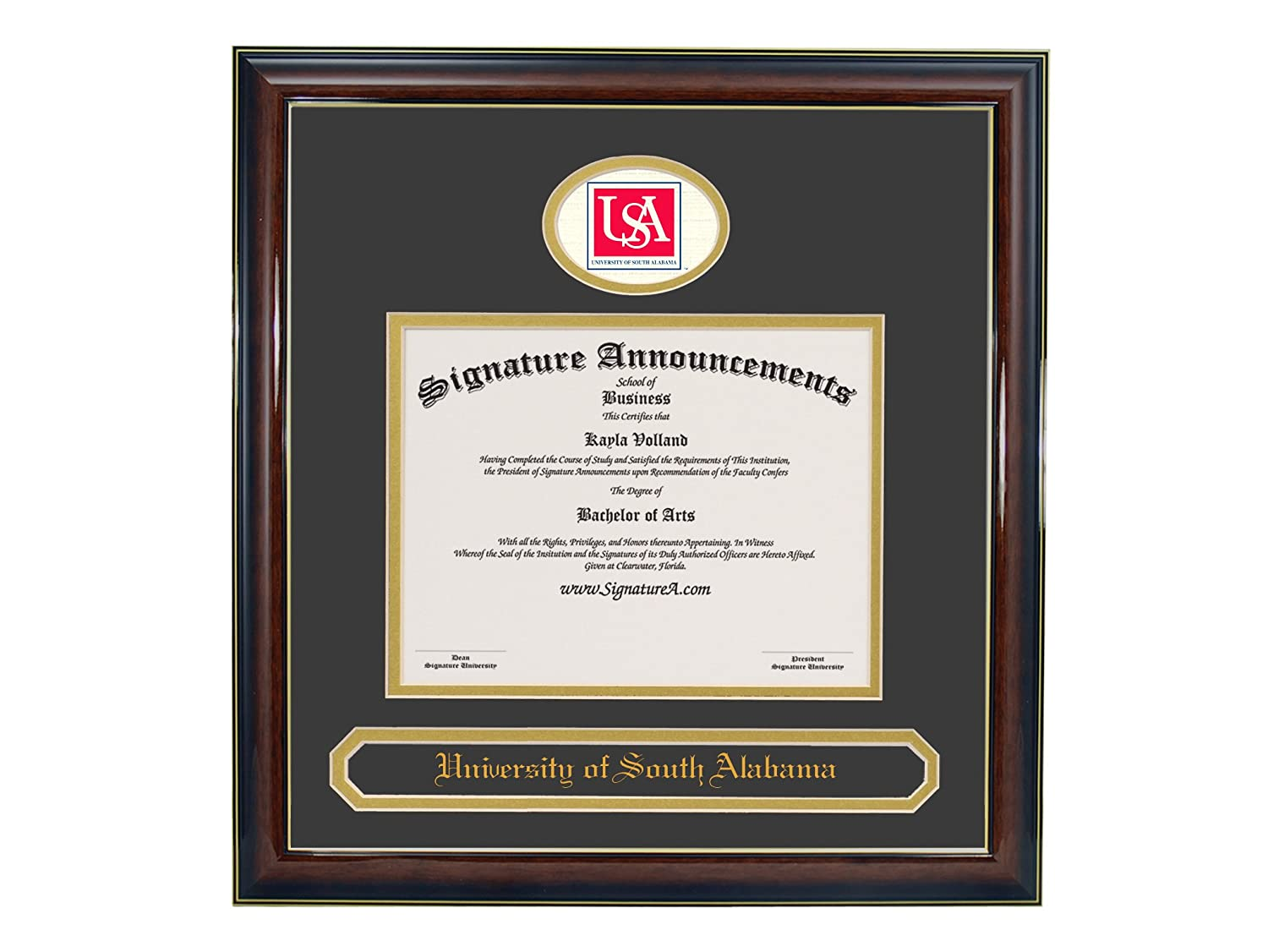 Professional//Doctor Sculpted Foil Seal /& Name Graduation Diploma Frame 16 x 16 Gold Accent Gloss Mahogany Signature Announcements University-of-South-Alabama Undergraduate