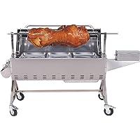 El Fuego Spanferkelgrill 1-flammig XXL silber Turning Roaster Garten Balkon ✔ Lenkrollen mit Bremse ✔ eckig ✔ rollbar ✔ Grillen mit Gas ✔ mit Rädern
