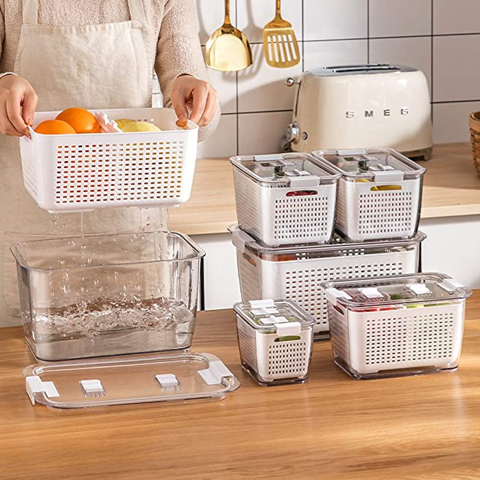 3 PACK Produce Saver Storage Containers, Vegetable Storage Containers Fruit and Salad Partitioned Food Storage Container with Vents Stay Fresh Containers for Refrigerator