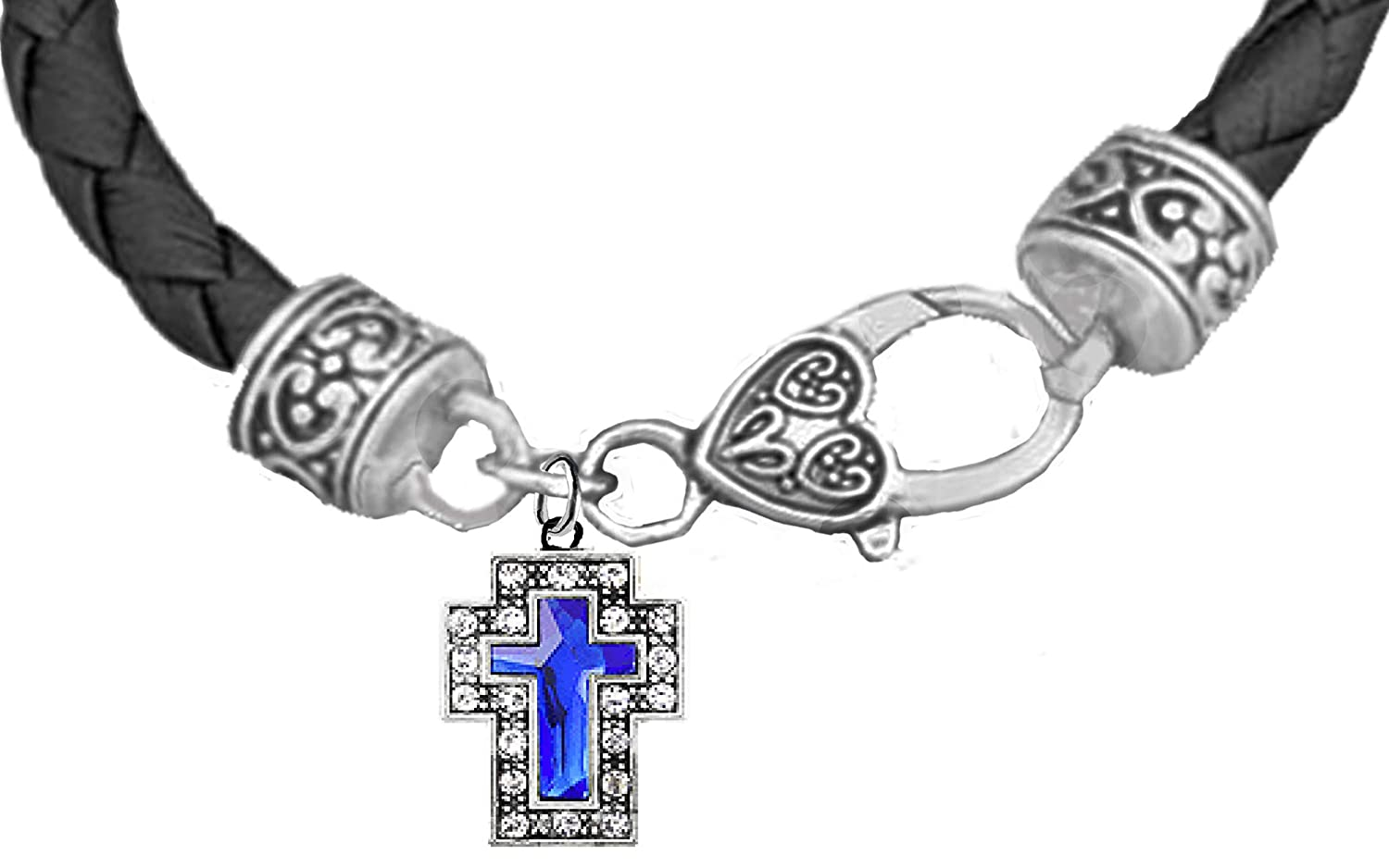 Safe-No Nickel Hypoallergenic Blue Genuine Crystal Cross Lead On A Genuine Black Leather Bracelet Or Poisonous Cadmium in Bracelet