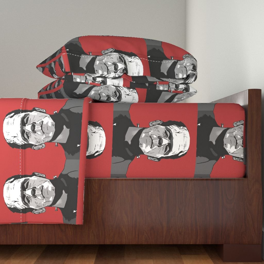 Roostery Horror 3pc Sheet Set Frankenstein by Bigfatsheep Twin Sheet Set made with