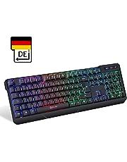 KLIM Chroma Wireless Gaming Tastatur - Gamer Keyboard LED Beleuchtete QWERTZ DEUTSCH - Hohe Leistung - Bunte Beleuchtung RGB - PC, Mac, Laptop, PS4, Xbox One X - 2019 Version - Schwarz