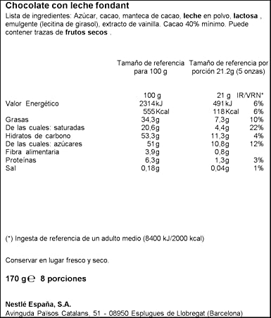 Nestlé - Postres - Chocolate con Leche para Repostería - 170 g - [pack de 4]: Amazon.es: Alimentación y bebidas