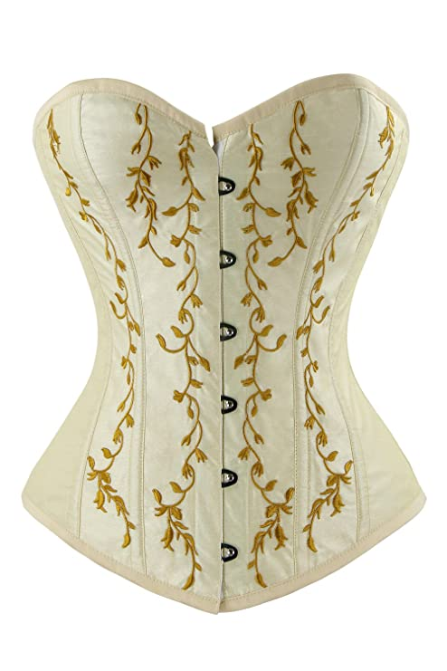Victorian Corsets – Old Fashioned Corsets & Patterns Charmian Womens Vintage Retro Floral Renaissance Embroidery Overbust Corset Top $28.89 AT vintagedancer.com