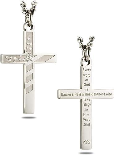 Men/'s Cross Necklaces in Stainless Steel