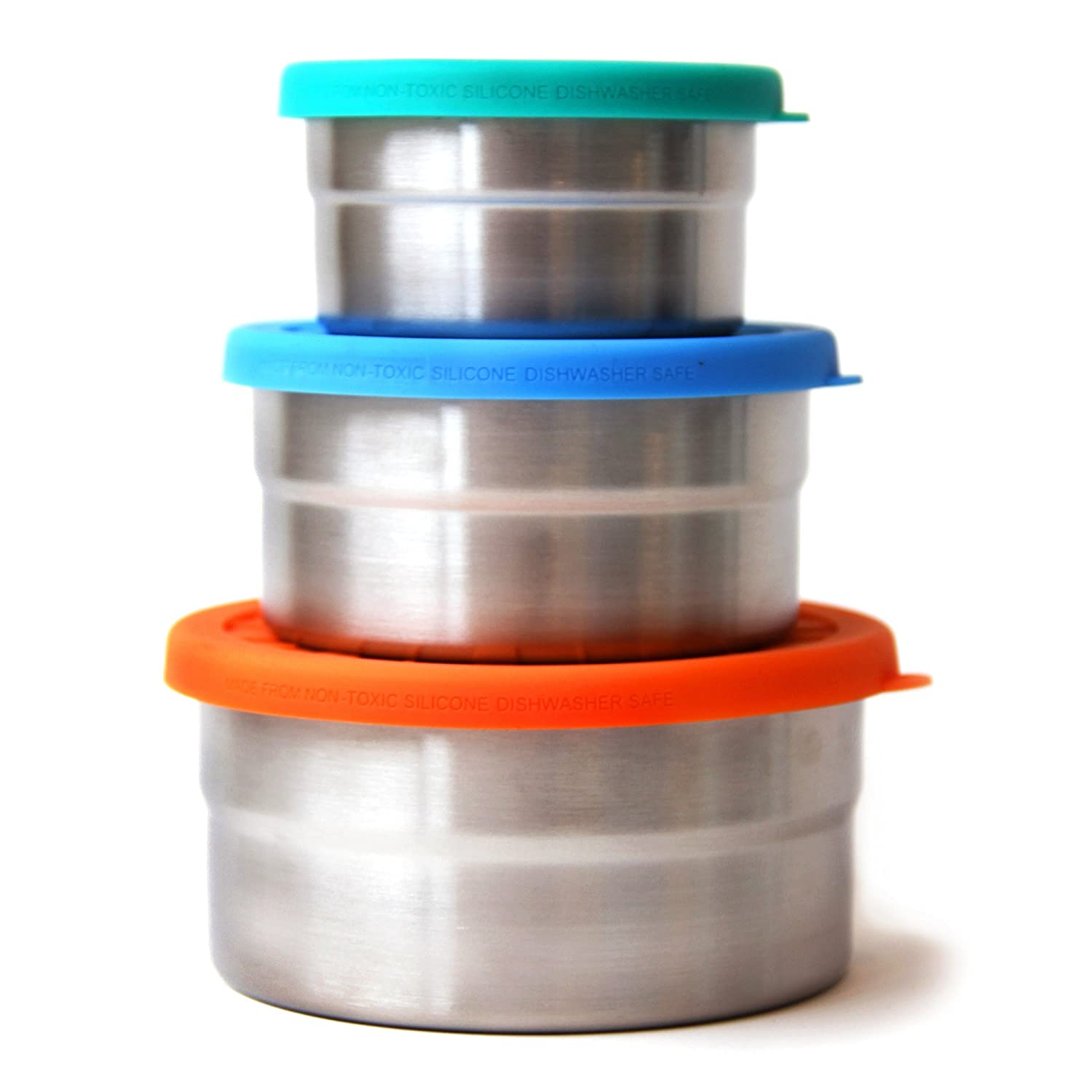 ECOlunchbox Blue Water Bento Seal Cup Trio - Set of 3 Nesting Stainless Steel Food Storage Containers BWB-CT-36