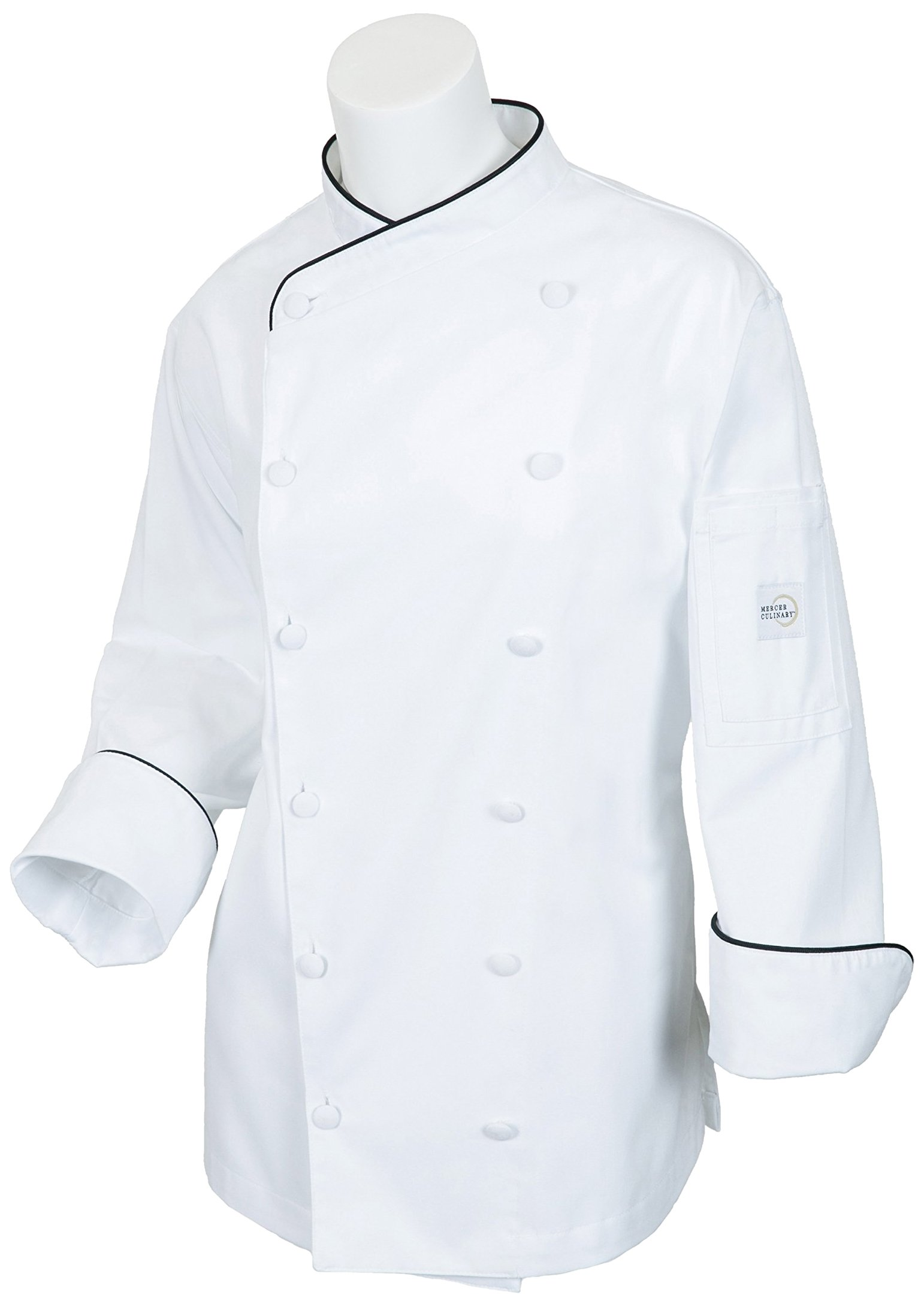 Mercer Culinary M62050WB2X Renaissance Women's Scoop Neck Chef Jacket, XX-Large,White with Black Piping
