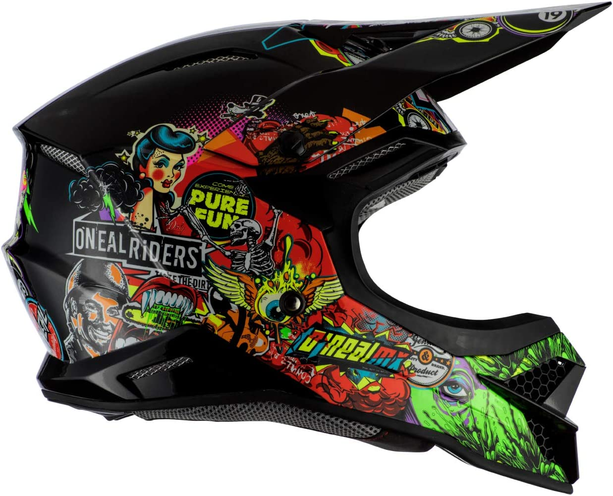 Black//Multi, Adult ONeal 7 Series Crank Off-Road Helmet Visor