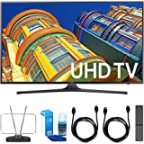 Samsung 50-Inch 4K UHD HDR Smart LED TV (UN50KU6300FXZA) w/ TV Cut the Cord Bundle Includes, Durable HDTV & FM Antenna, Universal Screen Cleaner & 2x 6ft High Speed HDMI Cable
