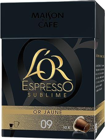 LOR Espresso Oro Express Dorado Amarillo Sublime 10 Cápsulas Compatibles con Las Cafeteras Nespresso ®Lot 4 (40 Cápsulas): Amazon.es: Alimentación y bebidas