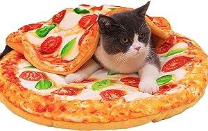 SEIS 2 Pcs Pet Mat and Blanket Set Warm Dog Pad Winter Cat Blanket Cute Pizza Toast Design Sleeping Bed