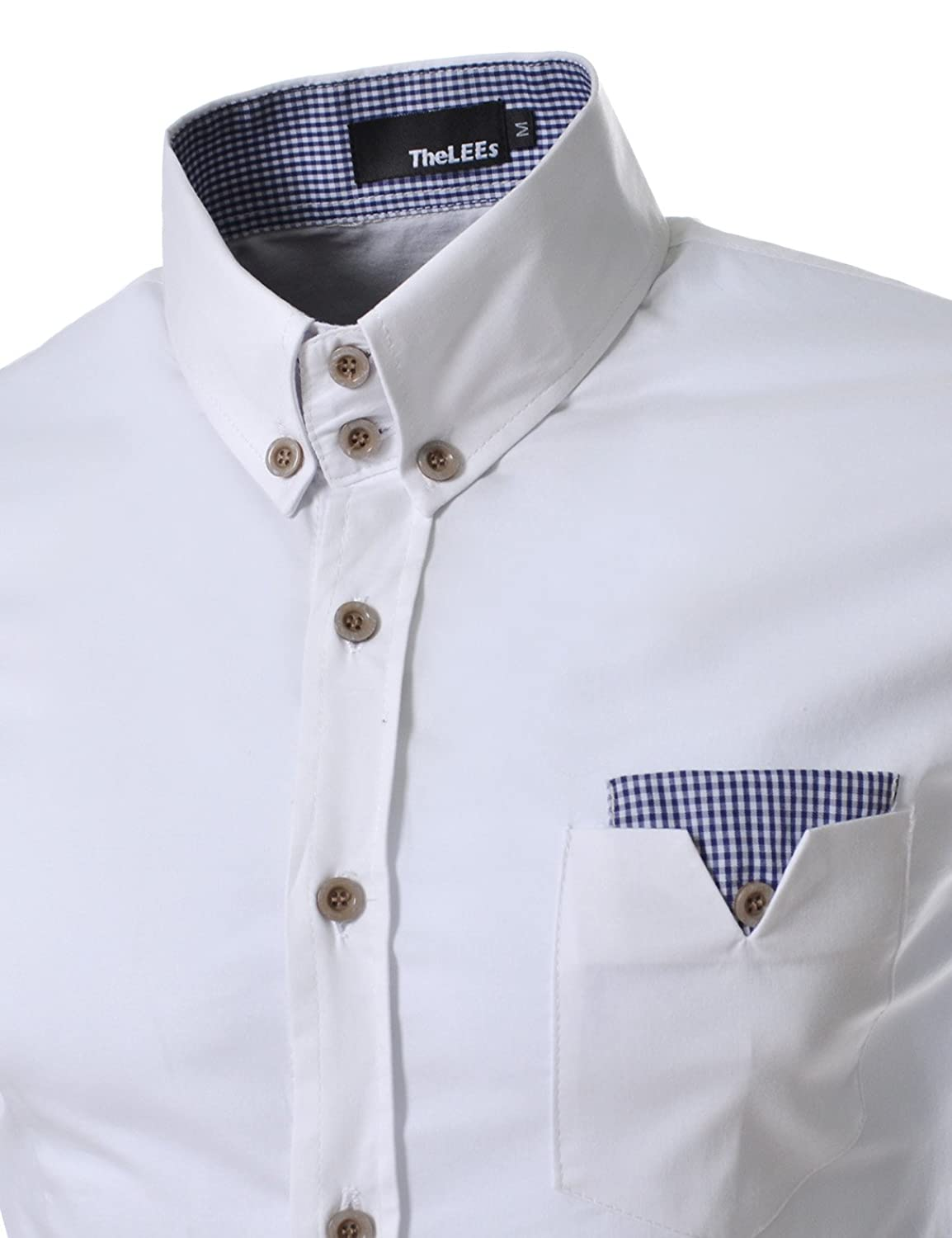 amazoncom dws thelees mens slim fit check patch pocket shirts white chest 42tag size xl clothing