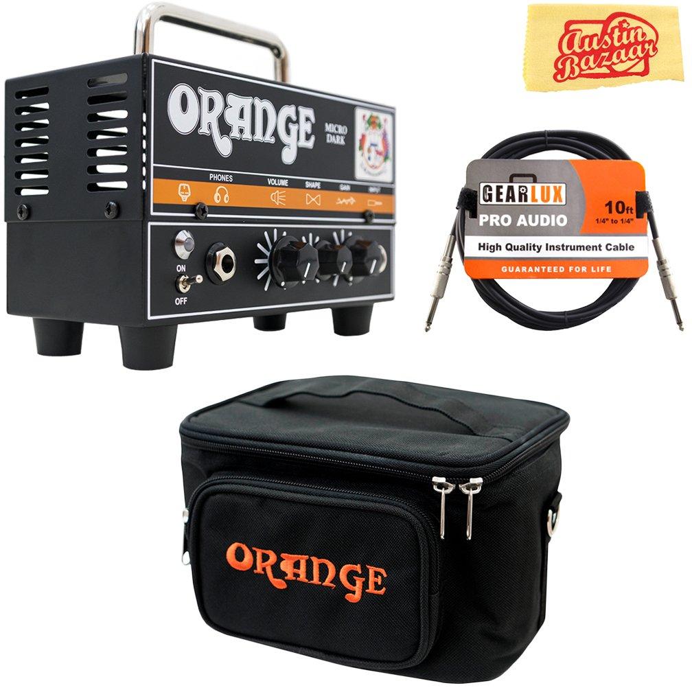 Orange MD20 Micro Dark 20-Watt Mini Guitar Amplifier Head Bundle with Orange Gig Bag, Instrument Cable, and Austin Bazaar Polishing Cloth