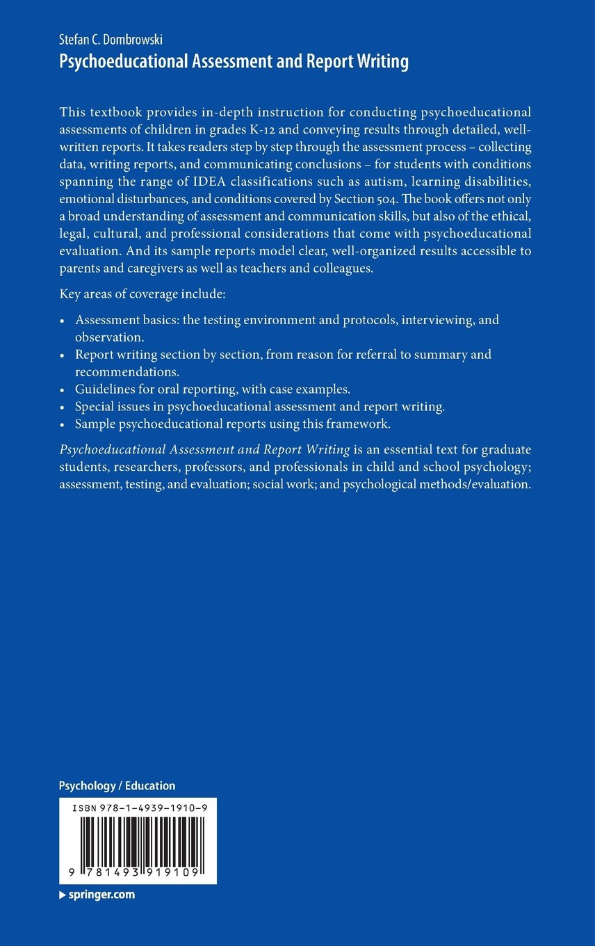 Psychoeducational Assessment and Report Writing: Stefan C ...