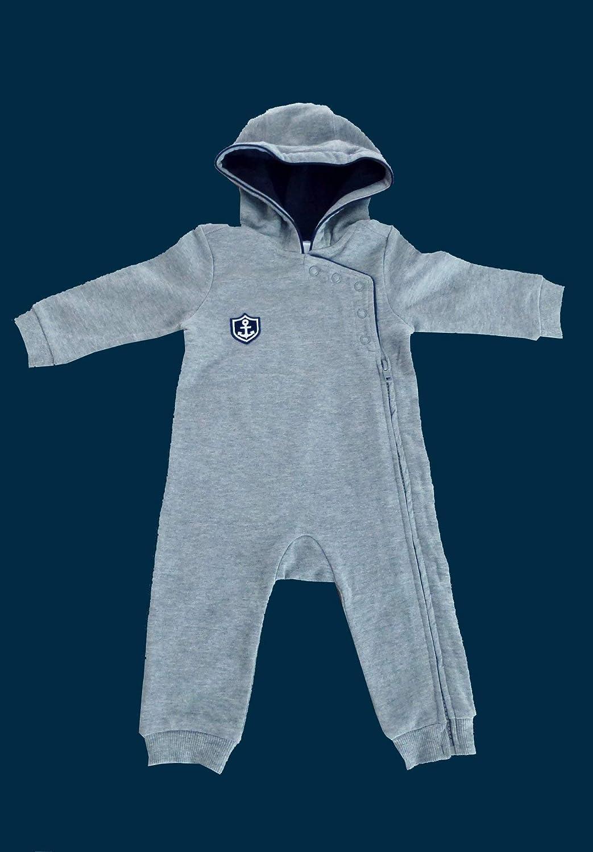 ebbeundflut maritimer Baby-Anzug HAFEN CITY mit Kapuze - Babystrampler grau blau