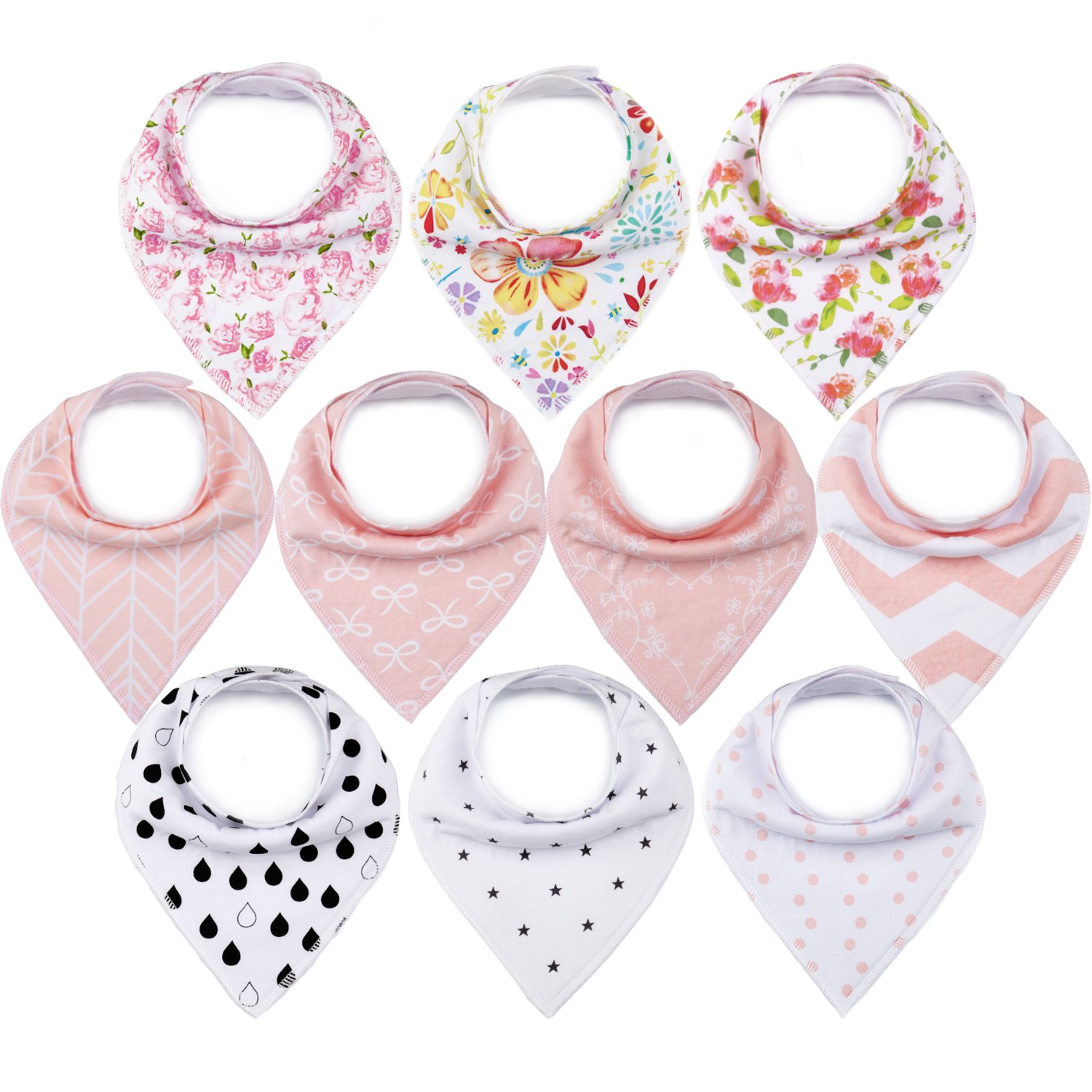 10-Pack Bandana Bibs Upsimples Baby Drool Bibs for Drooling and Teething, 100% Cotton Super Absorbent, 10 Stylish Design for Baby Girls Toddler, Baby Shower Gift Set Upsimples-US002