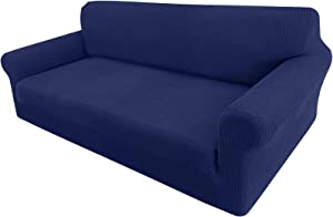 Granbest High Stretch Couch Cover 1-Piece Stylish Sofa Covers for 3 Cushion Couch Jacquard Sofa Slipcover Living Room Furniture Protector for Dogs Pets (Large, Navy Blue)