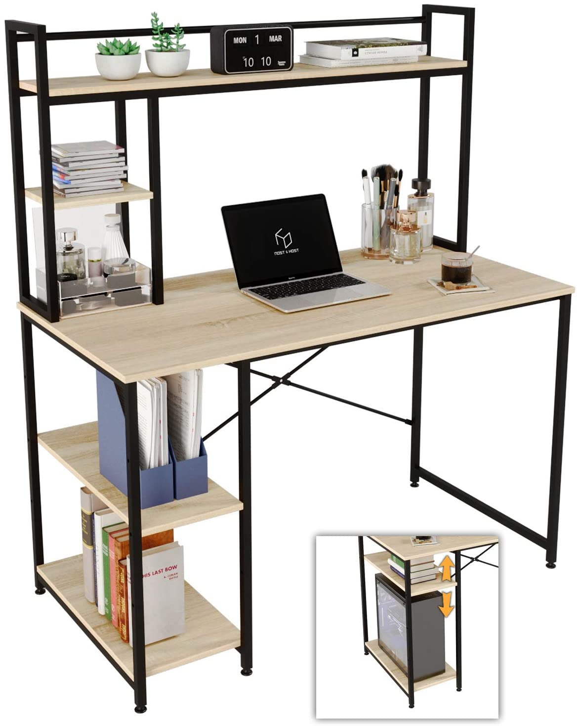Nost & Host Computer Desk with Hutch and Bookshelf, Home Office Working Table with Hutch & 2 Tiers Adjustable Shelves, Sturdy Wooden Desk for Vanity Study Gaming, Easy Assemble, 47.2 inches, Oak