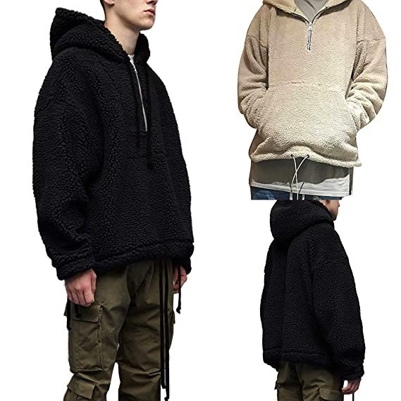 71a539ef52bcc galmajLj Men s Sweatshirts Winter Men Casual Solid Color Fleece Zip Long  Sleeve Hooded Sweatshirt Hoodies -