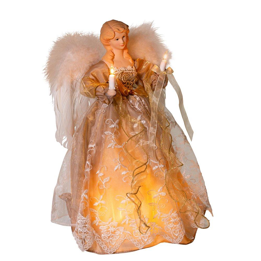 Kurt Adler UL 10-Light 14'' Copper and Gold Angel Treetop