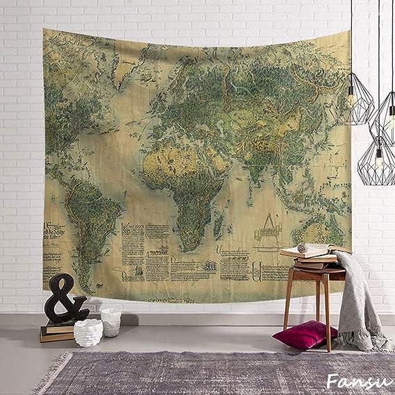 Fansu Tapiz de Pared Grande Mapa del Mundo Rectangular, artistico tapices Colgante hogar decoración Sala de Estar diseño psicodélico póster (S-150 * 130CM,Verde): Amazon.es: Hogar
