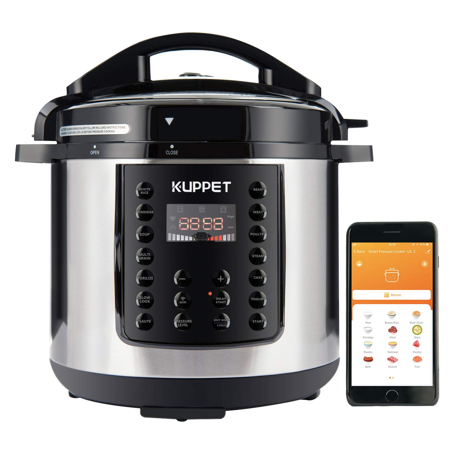 KUPPET MultiPot 10-IN-1 Smart WiFi Multi use Electric Pressure cooker, 6 Qt Programmable Multi Cooker, Rice Cooker, Slow Cooker, Steamer, Saute, Warmer, Bluetooth and WiFi, 1000W, Stainless Steel
