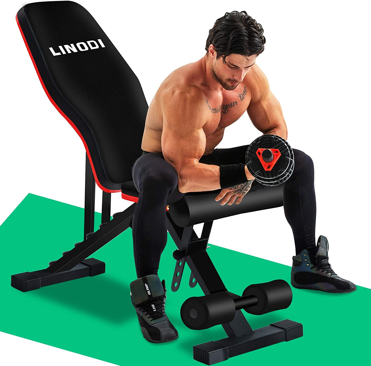 LINODI Adjustable Weight Bench, Workout Bench for Home Gym, Multi-Purpose Strength Training Benches, Foldable Incline Decline Gym Bench for Full Body Workout