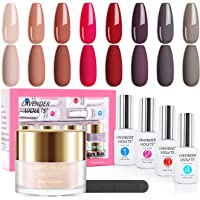 Lavender Violets Fast-Dry-Dip-Powder-Nail Kit of 8 Colors Rapid Dry Nude Pink Red Acrylic-Dipping Powder System with…