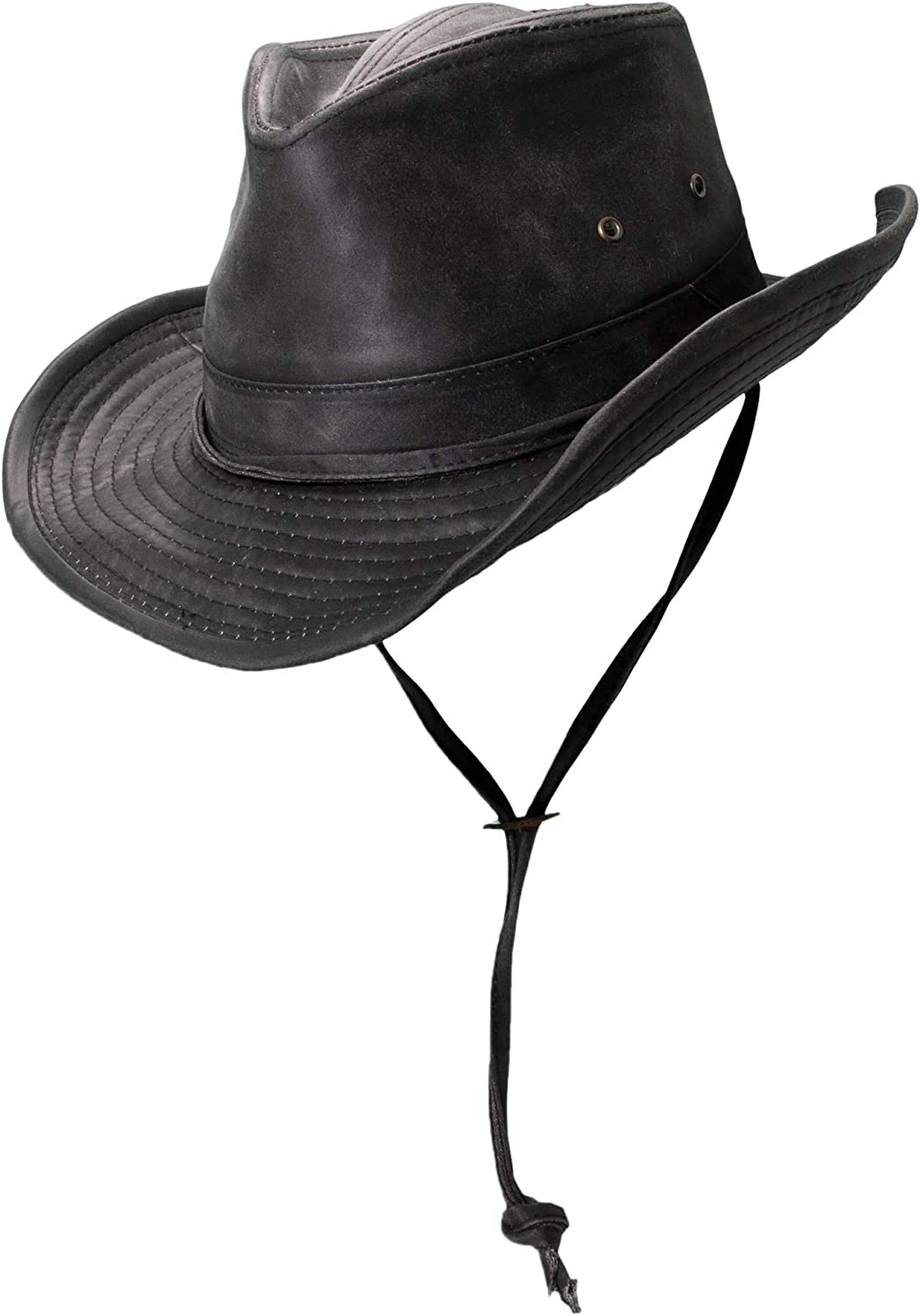 Dorfman Pacific Men's Outback Hat with Chin Cord at  Men's Clothing store