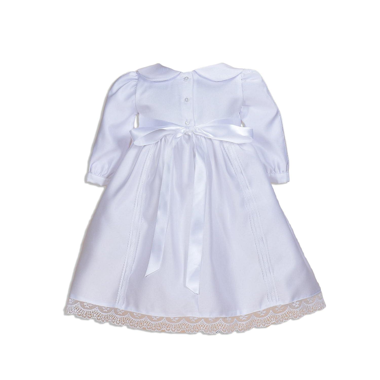 Cinda bambino manica lunga in raso bianco abito da battesimo con il cofano bianco