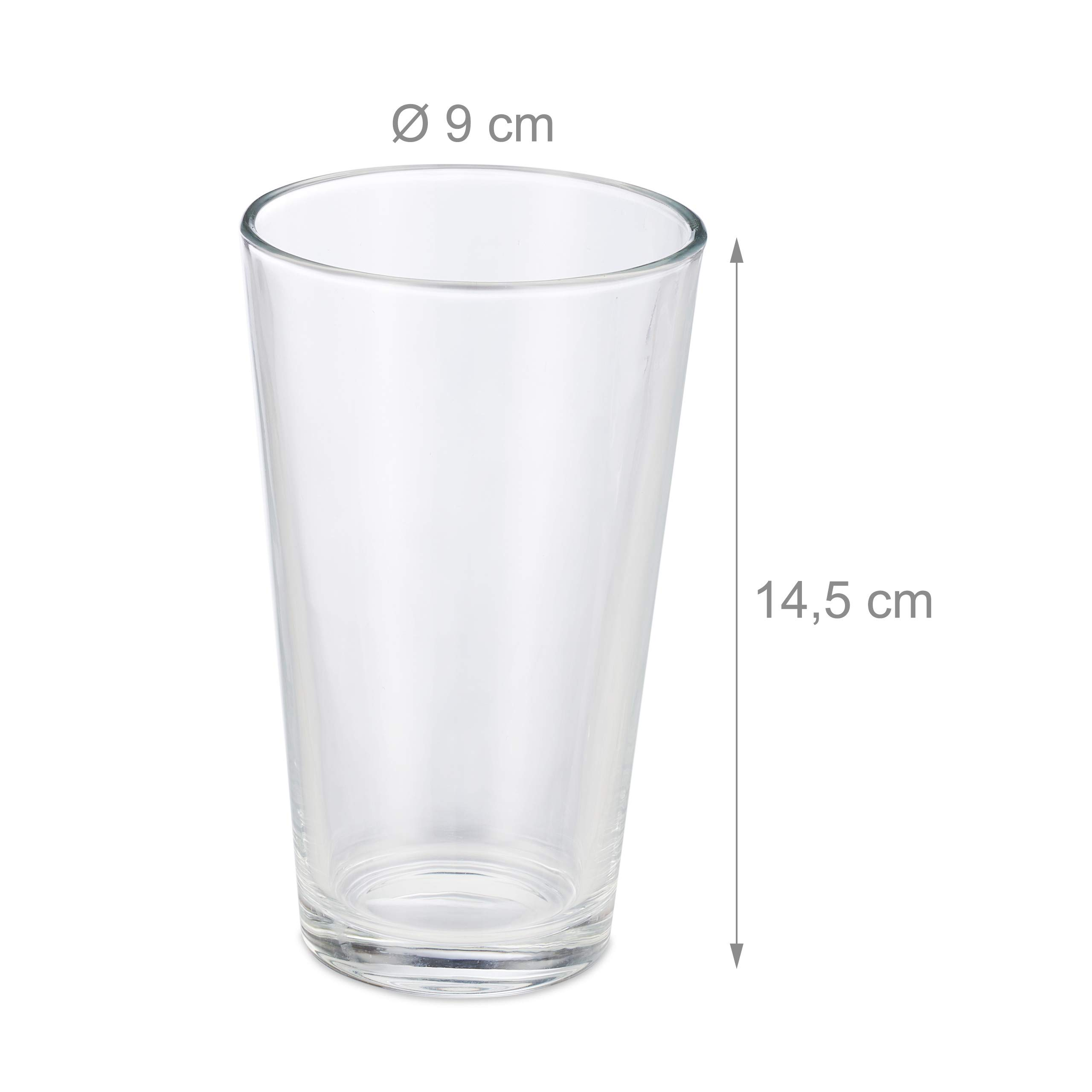 Relaxdays 10023413 Set of 18 Drinking Glasses Thick-Walled Water Glasses Simple Design Dishwasher Safe 500 ml Transparent Glass by Relaxdays (Image #4)
