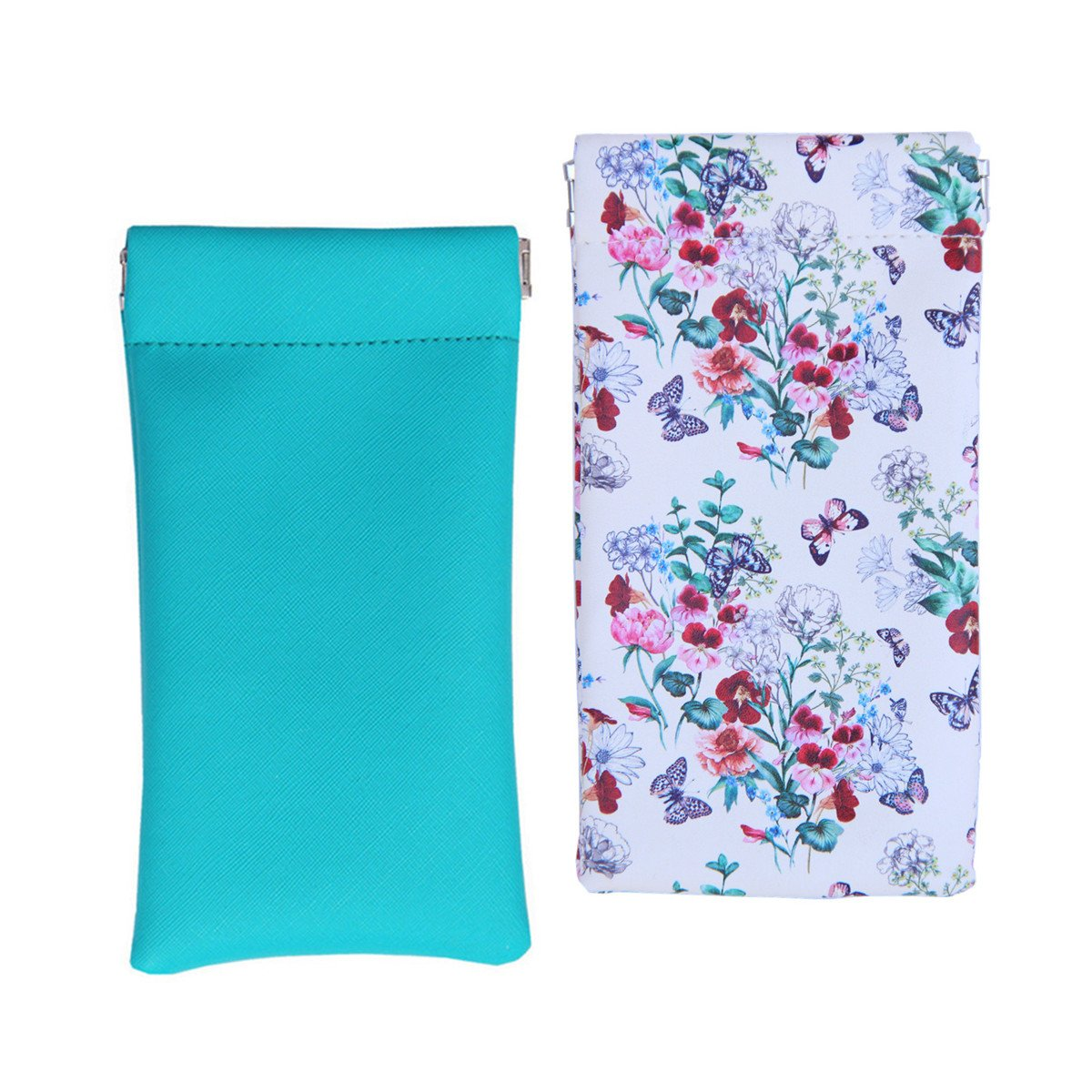 Lucky Leaf Sunglasses Goggles Pouch Case Eyeglass Holder Cell pouch with Cleaning Cloth (Teal+ Roses)