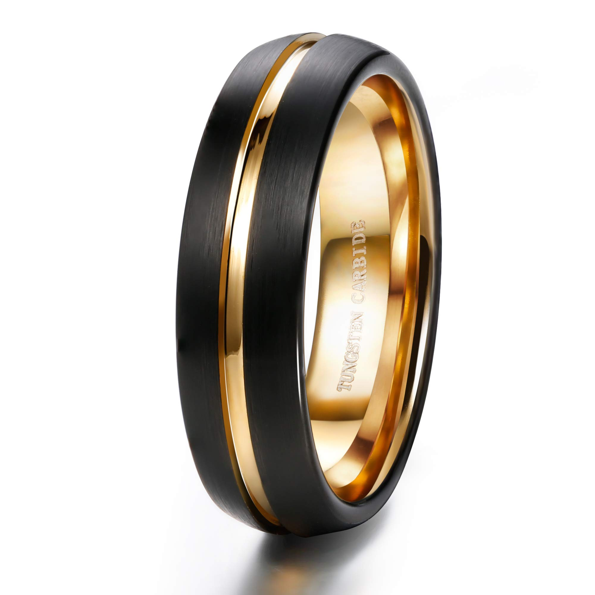 Tungary 6mm Mens Tungsten Carbide Wedding Band Ring Black Brushed Gold Inside Grooved Promise Band Size 10.5