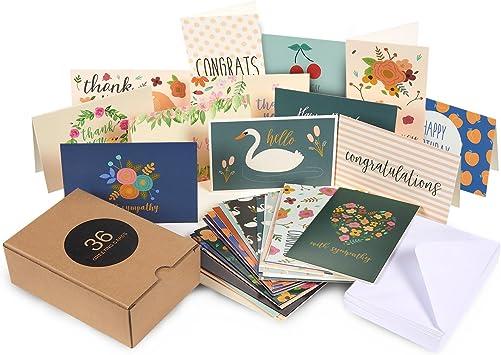 Amazon.com: Paquete de 36 tarjetas de felicitación surtidas ...