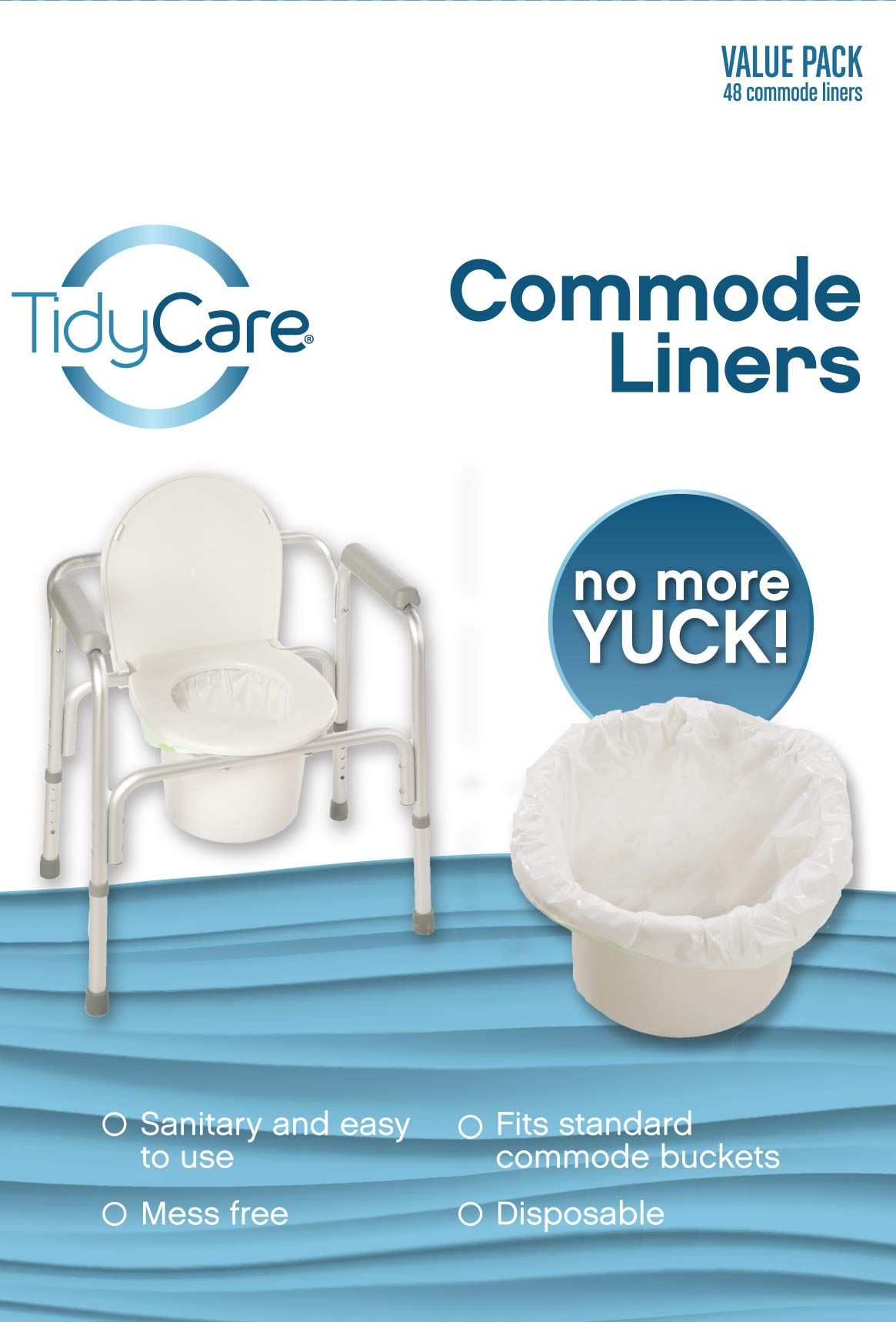 TidyCare Commode Liners - Value Pack - Disposable Bedside Commode Liners - 2 Packs of 48 Commode Liners (96 Total Liners) - Adult Commode Chair - Commode Pail Liners