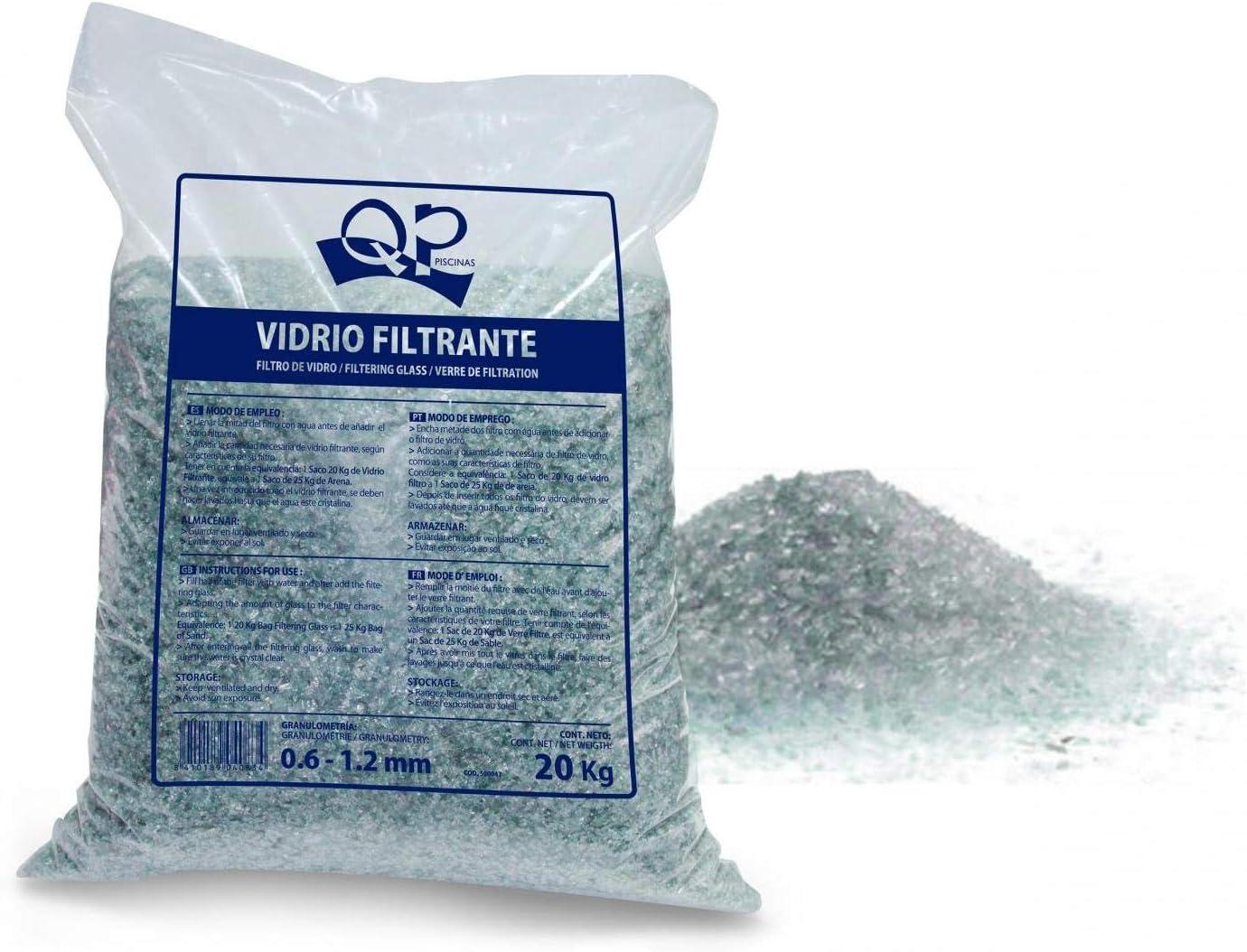 Productos QP Saco de vidrio filtrante para piscinas, 20Kg - QP 500047