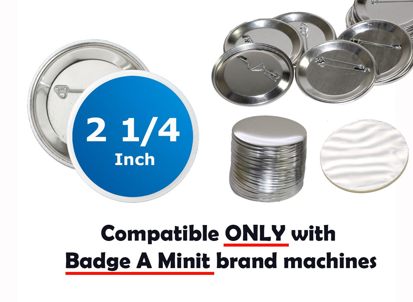 100 Pck - 2.25 inch ONLY for BAM Machines Pin Buttons - Generic Compatible with Badge A Minit 2 1/4