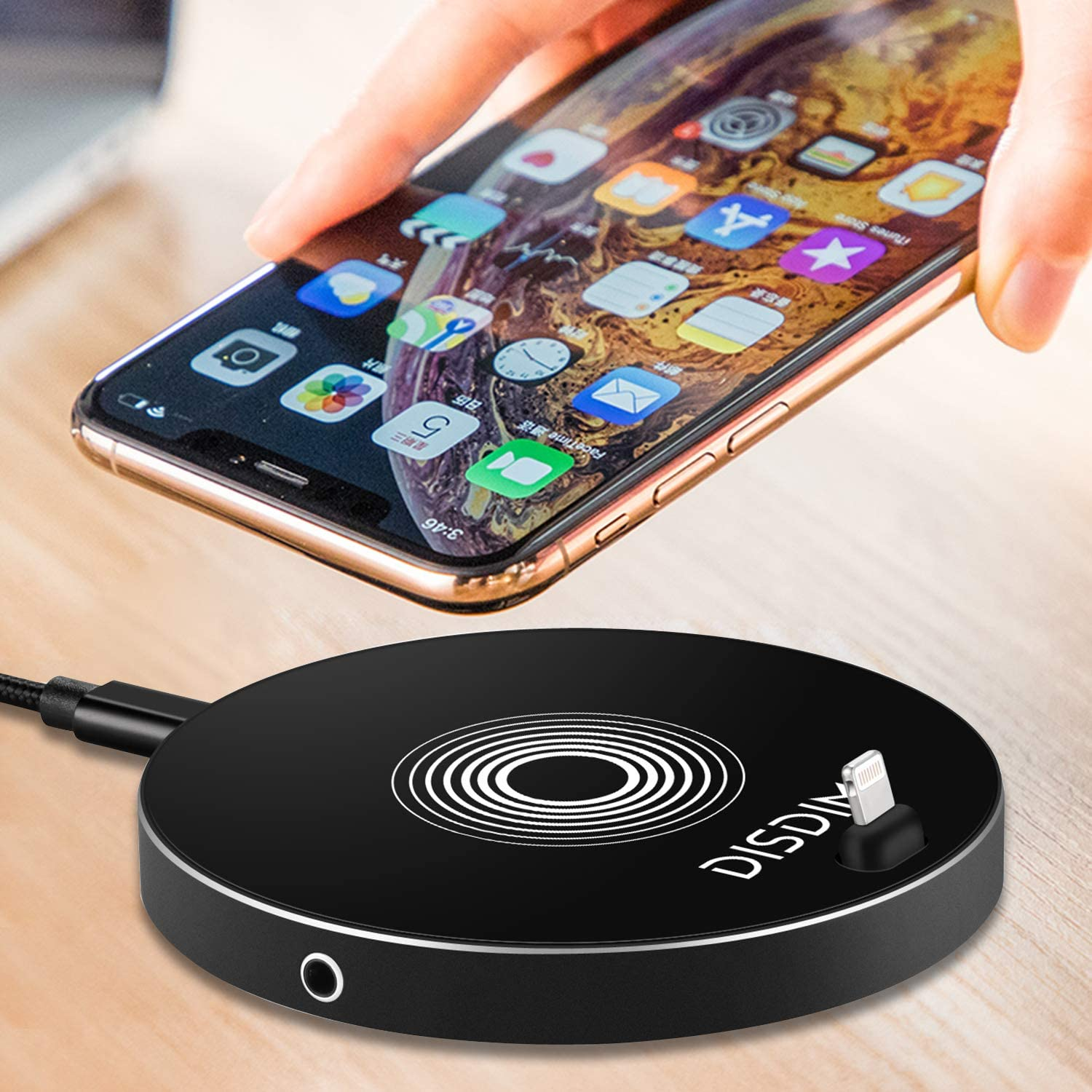 Charging Stand Station with 3.5mm Headphone Aux Adapter for iPhone X//8//7// Samsung Galaxy Note 8//S8 Wireless Charger with Audio /& Charging Dock,DISDIM 3 in 1 QI Fast Wireless Charger Pad