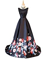 Vanial Beautiful Floral Print Prom Dress Long Formal Evening Gowns V002