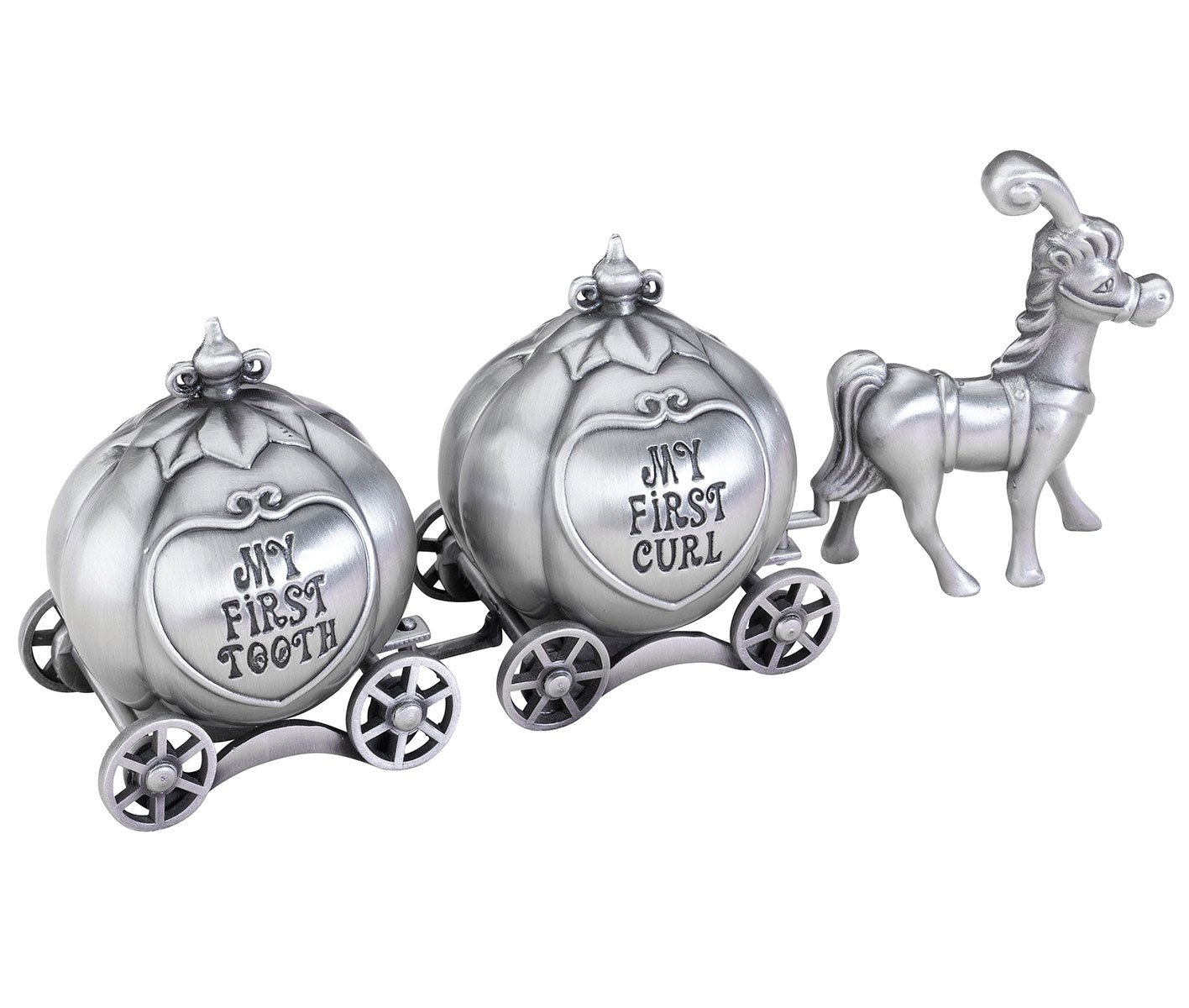 Lillian Rose Keepsake Pewter Tooth and Curl Box, Fairytale Coach, 2'' x 5''