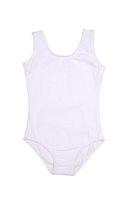 1d078ffeadeeb Lovelyprincess White Color Girls Classic Dance Tank Leotard, Size For 5T  Girls